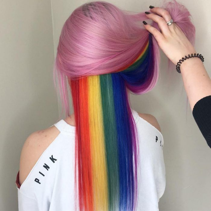 Bubble gum pink and a hidden rainbow hair color trend 2018 created by Wella hair products: Pink: >rainbow More Hair Styles Like This! hair styles Bubble gum pink and a hidden rainbow hair color trend 2018 - Hair Colors Ideas Pretty Hair Color, Hair Color Purple, Hair Dye Colors, Rainbow Hair Colors, Pretty Makeup, Pink Color, Unicorn Hair Dye, Hidden Rainbow Hair, Bright Hair
