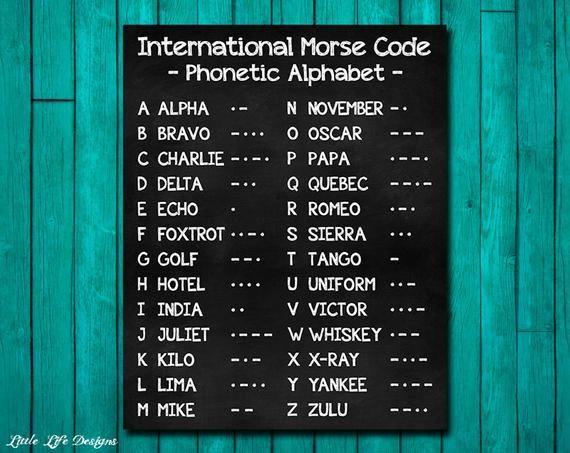 Internationalen Morsecode Sign Phonetische Alphabet Etsy Phonetic Alphabet Morse Code International Morse Code