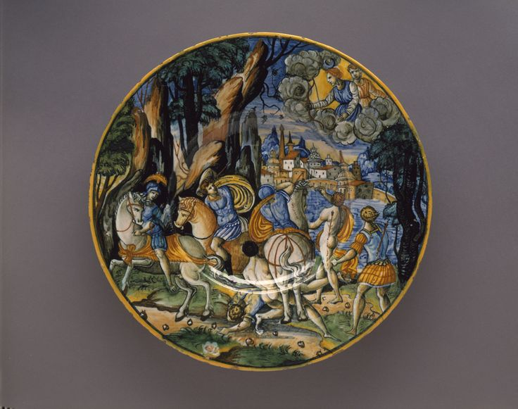 Maiolica dish-The Children of Niobe Shot by the Moon and the Sun, Sforza di Marcantonio, 1535-Acquired 1886 #bmag130