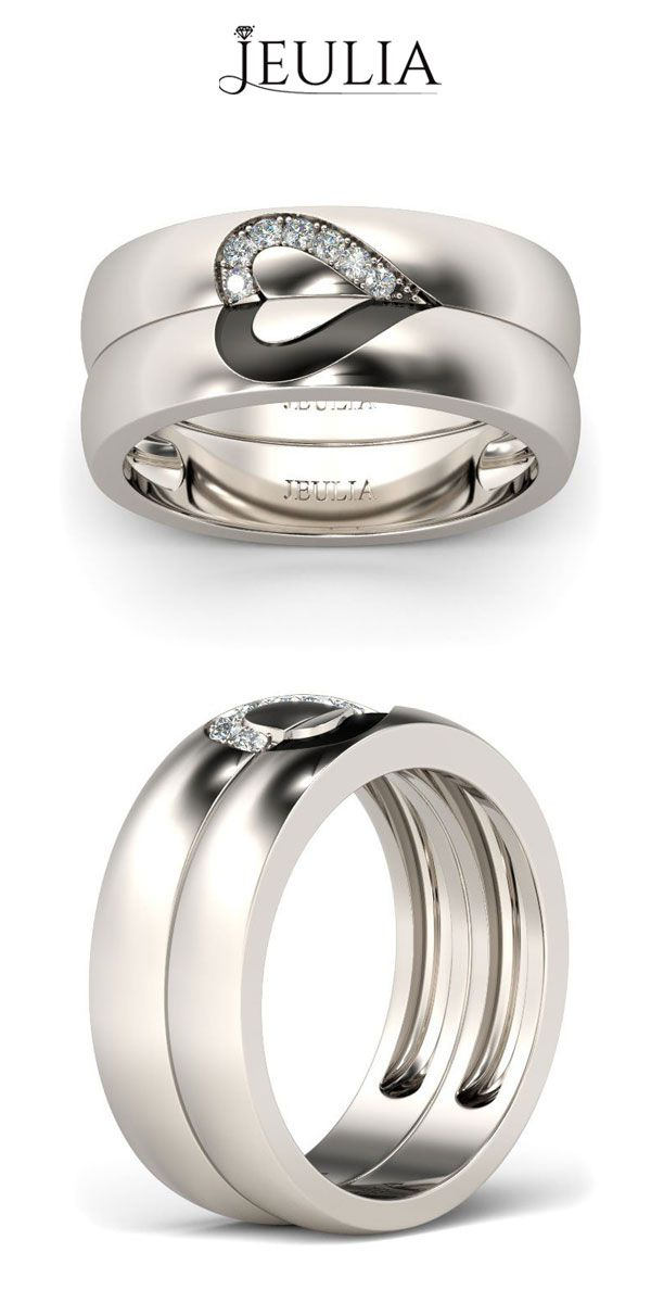love shape sterling silver band set rings rings. Black Bedroom Furniture Sets. Home Design Ideas