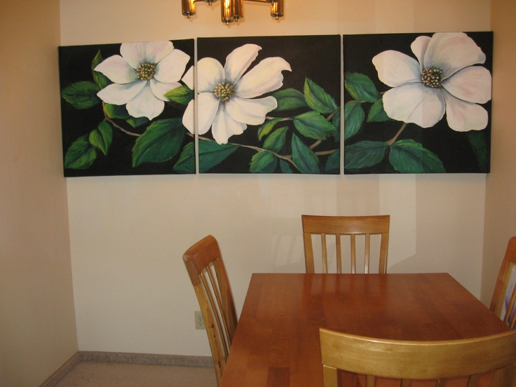 "8 ft by 2.5 ft. In a dining room.  Acrylic on canvas.  (triptych)  ""Dogwood Trio:"