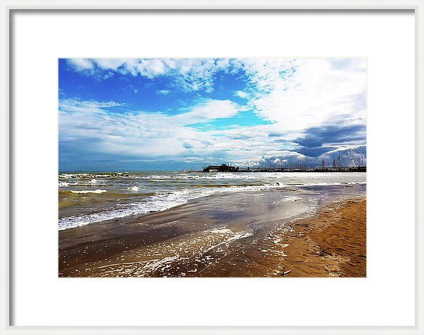 Rimini After The Storm By Marina Usmanskaya Framed Print featuring the photograph Rimini After The Storm by Marina Usmanskaya  Сoast of the Adriatic Sea in Rimini italy after the storm.  #marinaUsmanskayaFineArtPhotography #homedecor #artforhome #Italy #Rimini #Travel #seascape