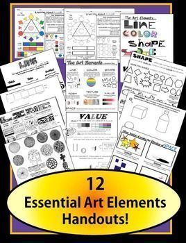 A packet full of my most essential handouts for easily teaching the Art Elements! Beautiful, clear l, handouts ready to go!  This product contains:2 handouts to introduce the Elements of Art (one for visual learners and one with written definitions and pi