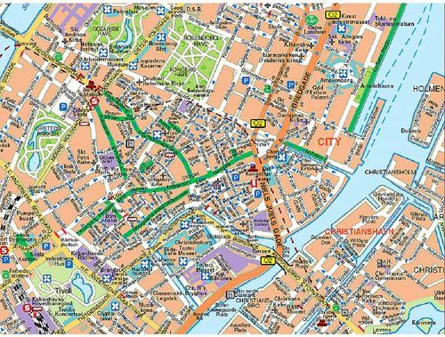 Map of Copenhagen. To obtain larger size or download, click on the image.