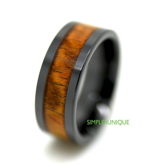 Wood Inlay Wedding Band Unique Ceramic Ring 9MM by SIMPLEnUNIQUE