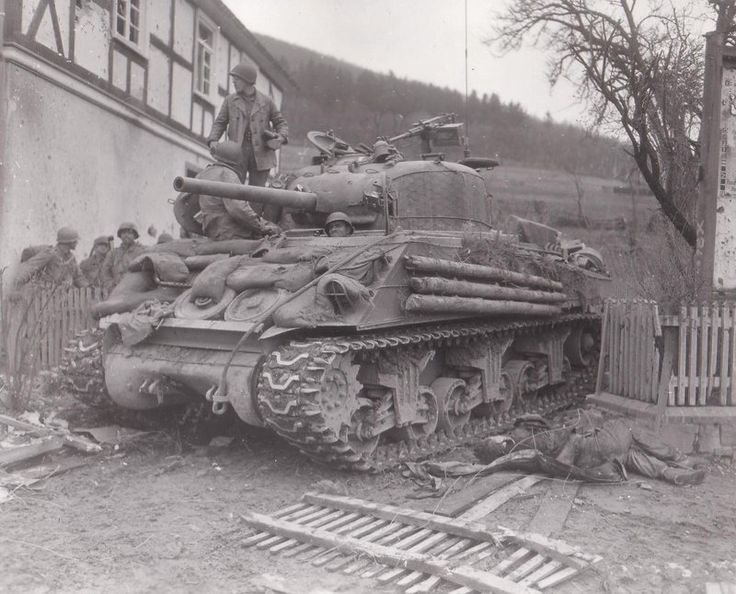 WWII. M4A3 Sherman tank from Sherman tank Command B of 7th Armored Division in  Oberkirchen, Germany