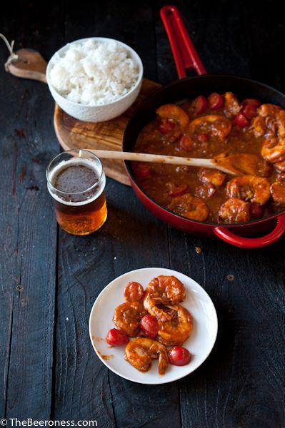 Drunk Shrimp Diablo. 15 minutes, spicy, beery and delicious.