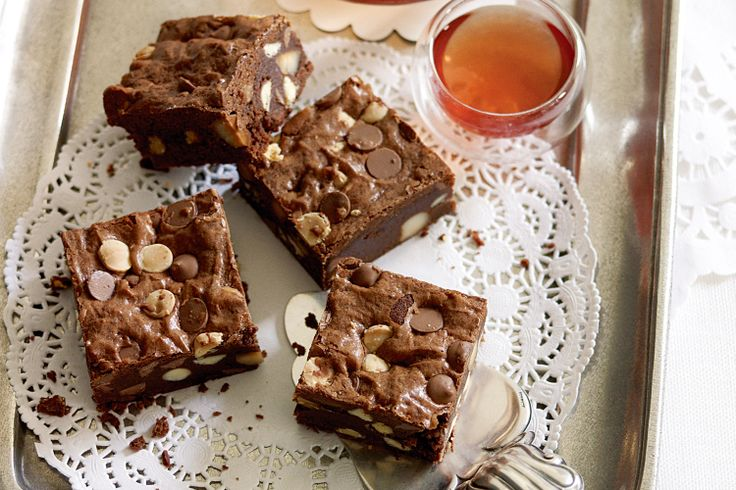 Macadamia nuts give these brownies a lovely flavour and nutty crunch.