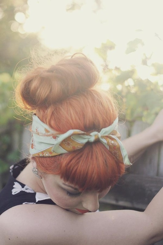 Pinup Beauty: pretty scarf and strawberry blonde hair.