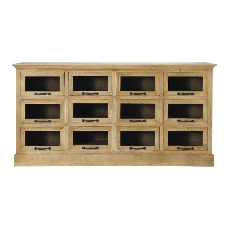 Thekenmöbel Apothekerkommode Holz mit 12 Schubladen NATURALISTE