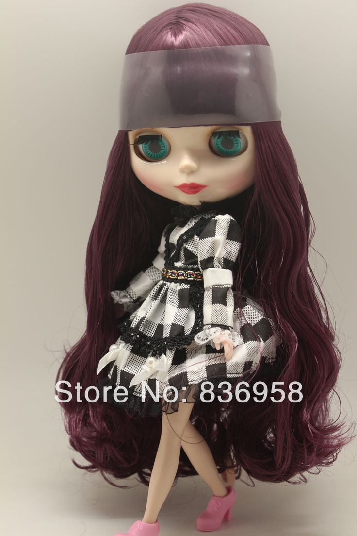 Dark Purple Long Curly Hair Blythe Doll Without Clothes $62.50