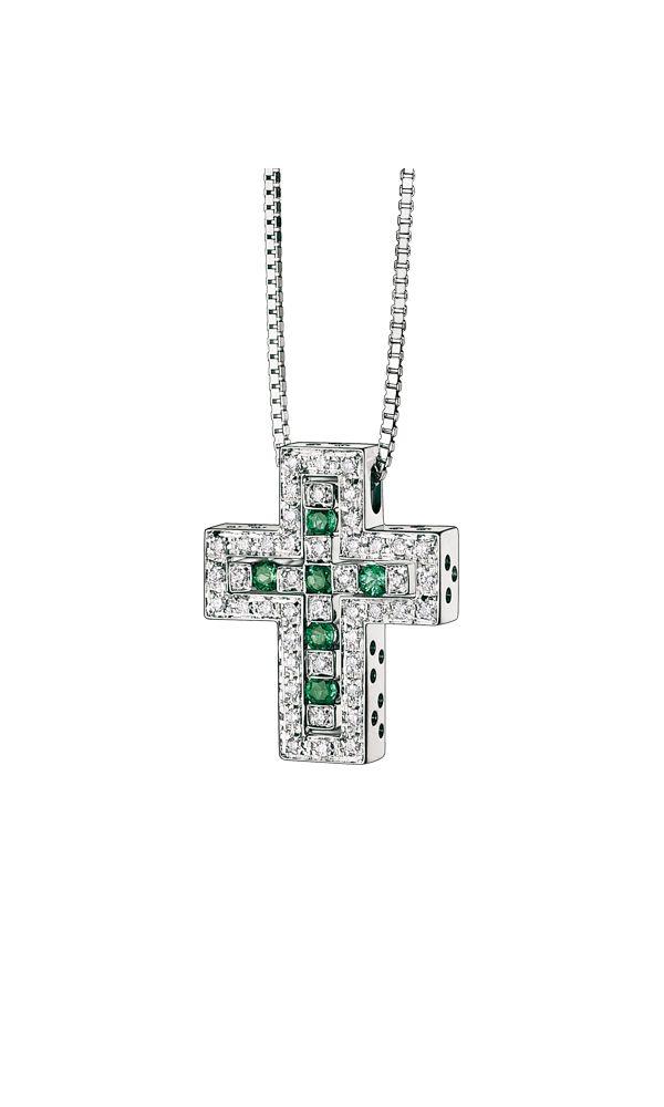 Belle Époque white gold, diamonds and emeralds cross necklace