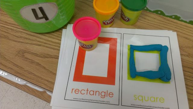 Math center activity. Making shapes with playdough.