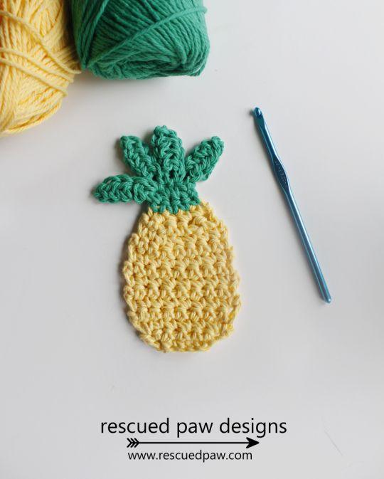 Free Crochet Pattern Pineapple Applique - Rescued Paw Designs