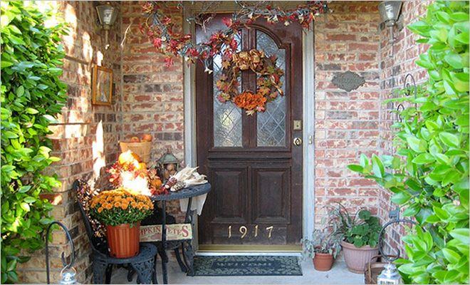 Herfstdecoratie voordeur - herfst tuin