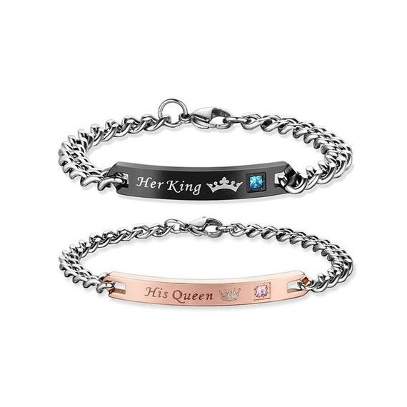 Pair of For Him And For Her 316L Stainless Steel Bracelet