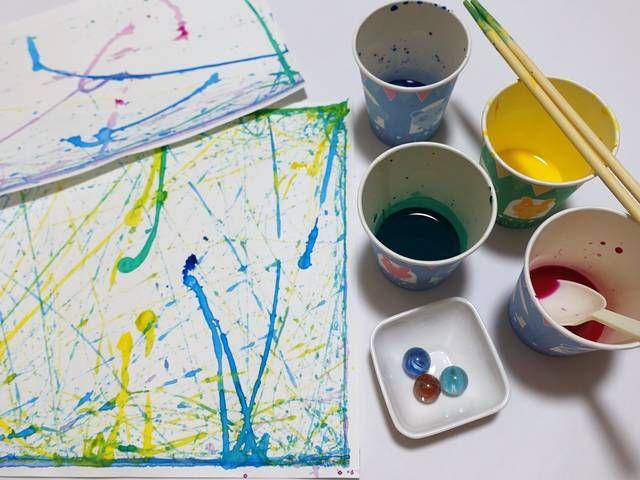 ビー玉で絵を描こう 2歳 7歳とコロコロアートをやってみた 手作り