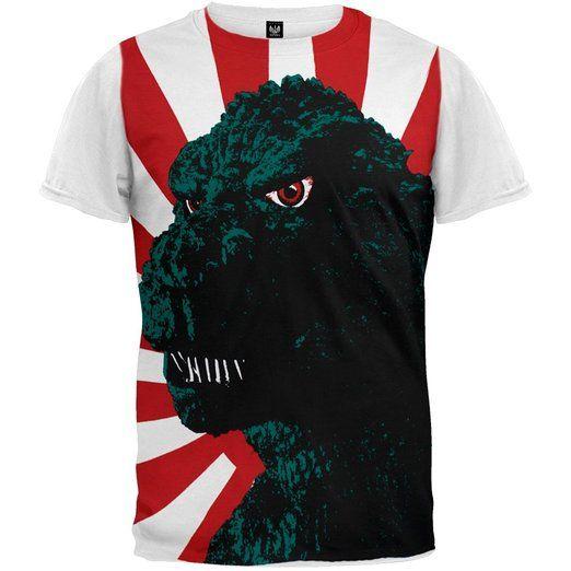 Godzilla - Mens Rising Sun Flag Subway T-Shirt - Small White
