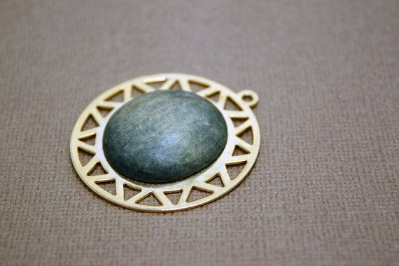 Vintage Sun Pendant with Green Stone in the Center - Gold Metal by IntoTheWardrobe, $4.00