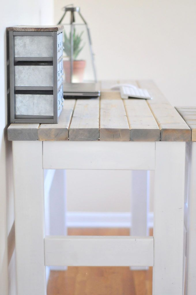 DIY Counter Height Desk #diy #furniture #tutorial #wood #planked #farmhouse…