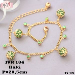 Gelang Kaki Emas Lampion Batu Peridot Gold Ukir Lapis Emas VR184