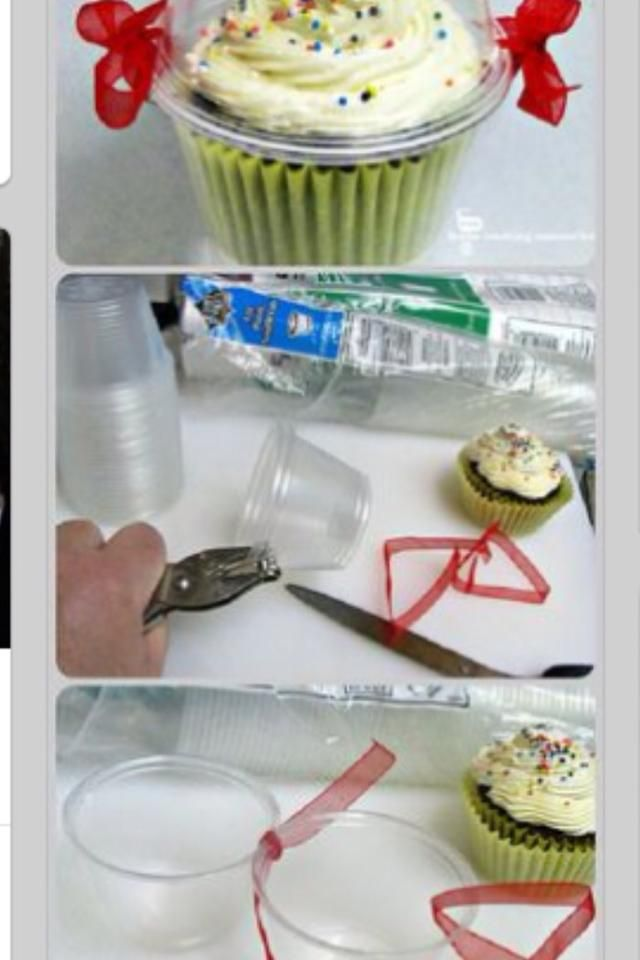 Cool! Use plastic punch cups to make covered cupcake holders!