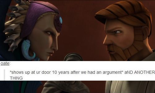 satine + obi-wan     These two were the best. *whispers in squeaky high-pitched voice* They finish each others sentences.
