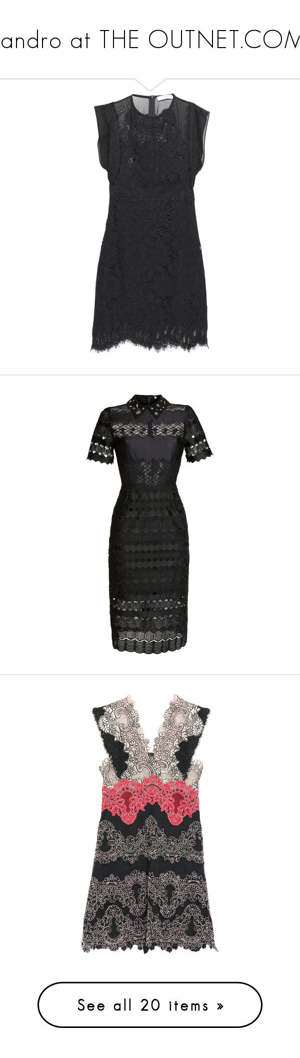 """""""Sandro at THE OUTNET.COM!"""" by theoutnet ❤ liked on Polyvore featuring dresses, black, panel dress, lace panel dress, slimming dresses, lacy dress, short lace dress, macrame dress, cutout dresses and embellished dress"""
