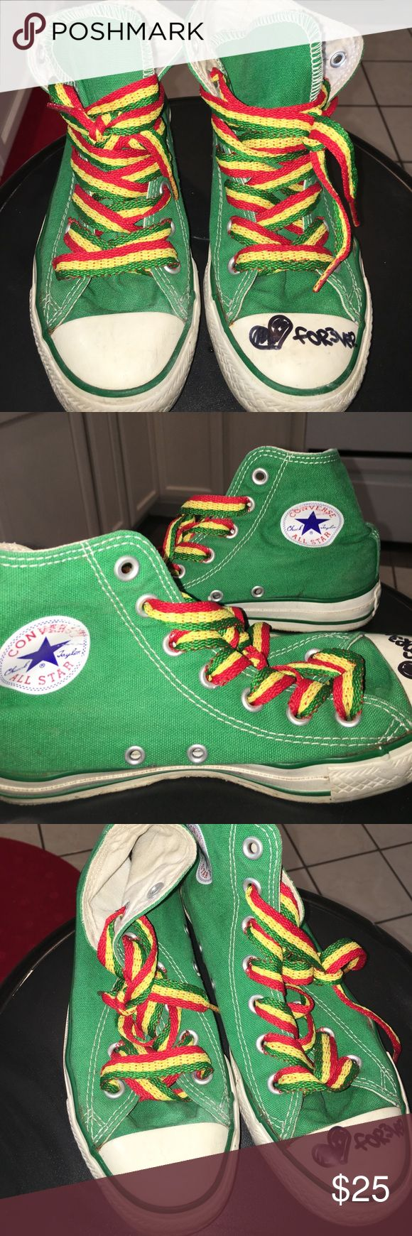 ❤️ RASTA GREEN HIGH TOP CONVERSE CHUCKS  ❤️ high top green converse • all star• chuck taylors • true green • thick Rasta laces you can replace with whatever you like• used & I wrote on the left foot forever • cute and fun ! I love chucks ! KIDS SIZE 4 (women's size 6) Converse Shoes Sneakers