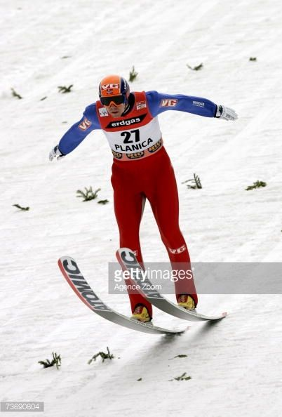 Anders Bardal of Norway lands a jump during the FIS Ski Jumping World Cup HS 215 event on March 24 2007 in Planica Slovenia