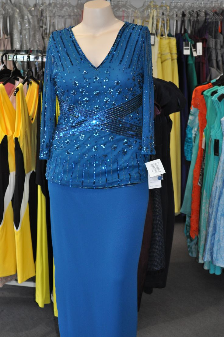 Laura K  Long Skirt Crepe Skirt with Sequinned Top and long sleeves. Excellent for mother of the Bride/Groom Or a Second wedding. Sizes 10, 12. roomy.