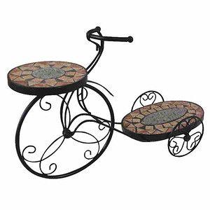 SIENA GARDEN Blumenständer Fahrrad Prato, Metall schwarz, Mosaik