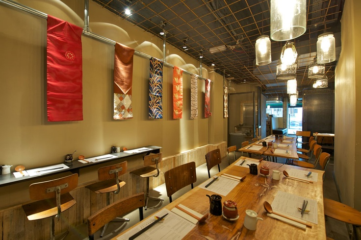 Japanese restaurant made authentic through re-use of traditional Kimono fabrics and rustic materials.