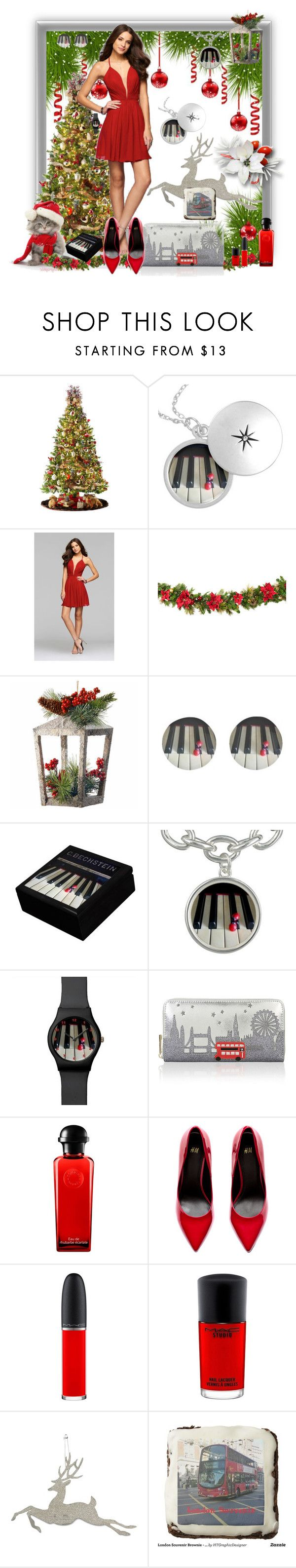 """""""New Year Party"""" by hanzaturgul ❤ liked on Polyvore featuring General Foam, Faviana, National Tree Company, Accessorize, Hermès, H&M, MAC Cosmetics, Bethany Lowe, party and London"""