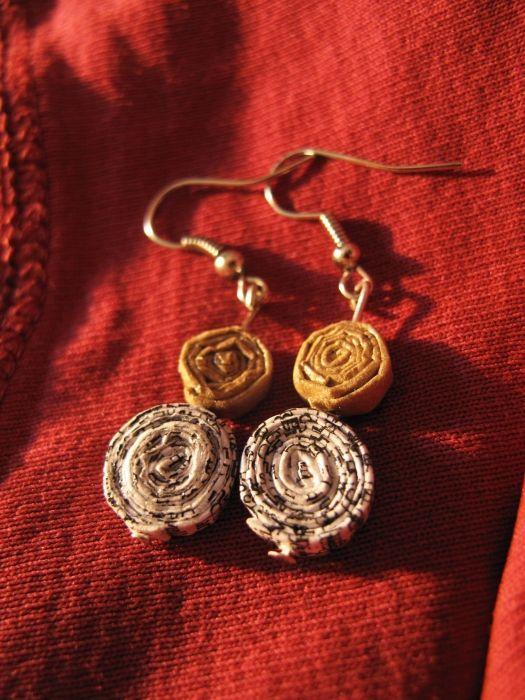 Handmade upcycled paper earrings