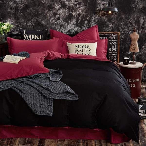 Cotton Black And Red Bedding Set With Solid Color Duvet Cover Black Bed Sheets Bedding Set Bedroom Des Red Bedding Sets Red Bedding Cotton Bedding Sets