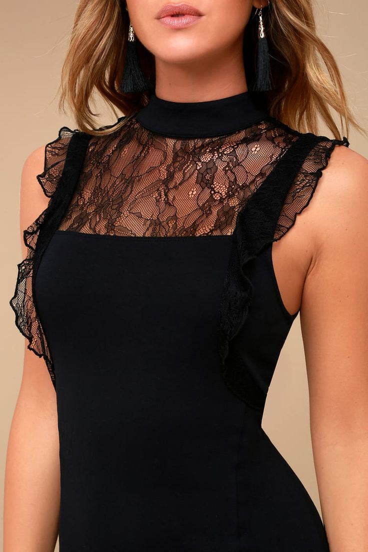 Free People  Beaumont Muse  Figurbetontes Kleid aus schwarzer Spitze