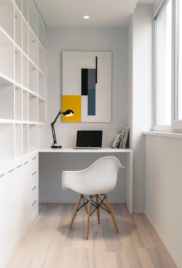 Modern Home Office // 3 Sparkling Apartments That Shine With Wonderful White