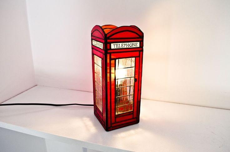 """Lampka witrażowa """"LONDON PHONE"""" w Pracownia Witraży EwaWit na DaWanda.com"""
