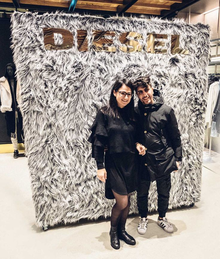 Diesel Brompton Road Knightsbridge - Opening Night Launch Party 2016 - Faux Fur MDF Freestanding Wall Backdrop, Finished With Gold Mirror Acrylic Lettering