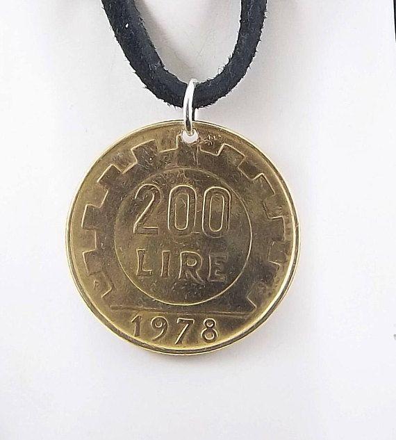 Italian Coin Necklace 200 Lire Coin Pendant Leather Cord