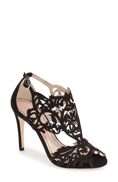 Klub Nico - 'Marcela' Laser Cutout Sandal (Women) - Black Leather / 9 / M - TorpShop - 1