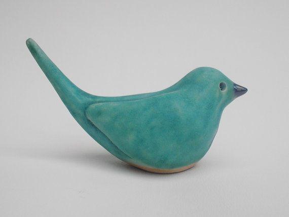 Turquoise Bird, Handmade ceramic bird sculpture in Turquoise Blue