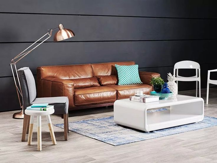 Tan leather couch Domayne