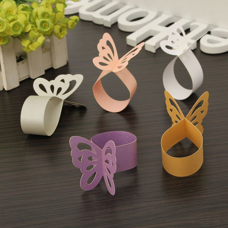 50 Pcs Butterfly Hollow Out Paper Napkin Buckle Ring Wedding Party Anniversary Decoration