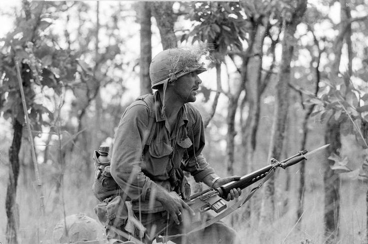"2nd Lt. R. C. ""Rick"" Rescorla moves carefully with fixed bayonet through the underbrush in an attack of North Vietnamese sniper pockets outside the American perimeter in the Ia Drang Valley on Nov. 16, 1965 during the Vietnam War.  The soldier is a member of one of the hardest hit companies of the 1st Cavalry Division units.Rescorla, was born in Britain and served in the military there and on the Metropolitan police force before moving to New York and joining the U.S. Army. He was killed in…"