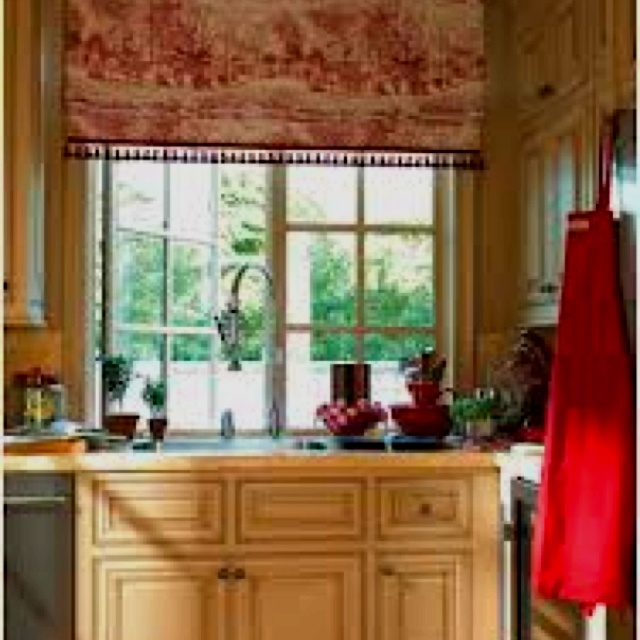 Country Red Kitchen Curtains: Toile, Kitchens And Custom Kitchens