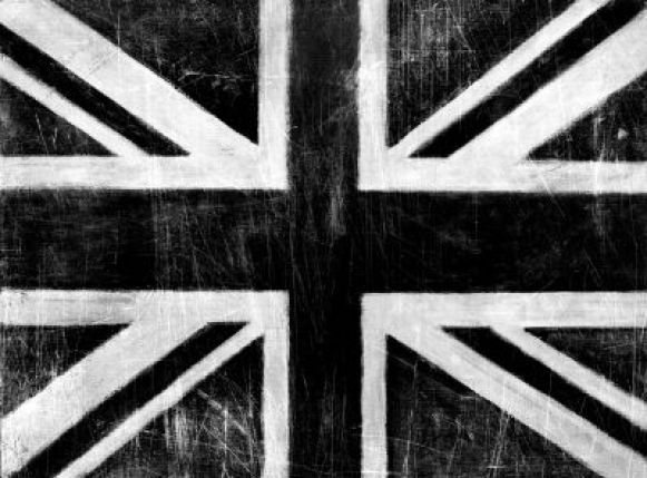 Union Jack silver (000424) - Arthouse Art - Celebrating Brit Art – a bold union jack with a weathered effect, in black, white and silver. Canvas size 77 x 58 x 2.5cm deep.
