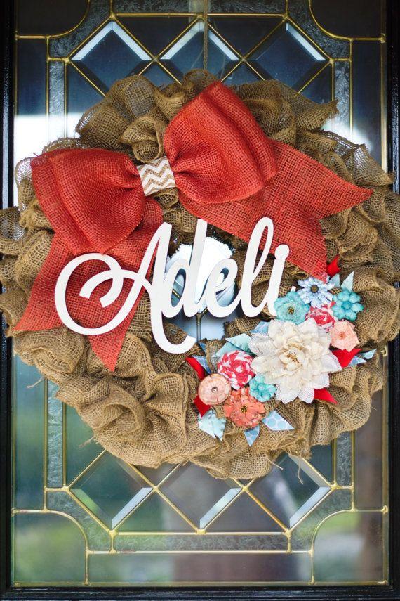 Baby Girl Wreath Burlap Wreath Wedding Wreath by PeaceLoveBurlap, www.peaceloveburlap.etsy.com