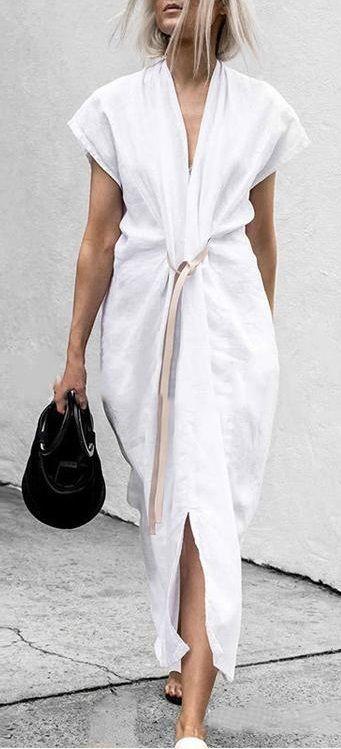$30.99 SALE! SHOP NOW>>>Summer Solid V-Neck Split With Belt Plus Size Dress 2